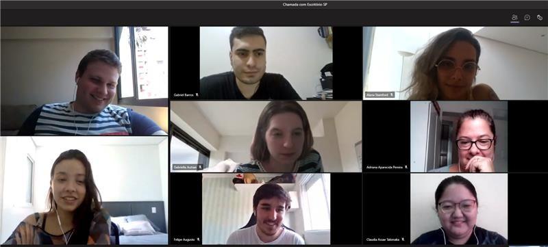 Reunião de equipe da TPF Engenharia para discussão de pontos positivos e melhorias sobre o trabalho remoto.
